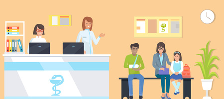 Patients at reception, man with broken arm and family, nurses with computers, room with clock and plant, bench for people. Illustration