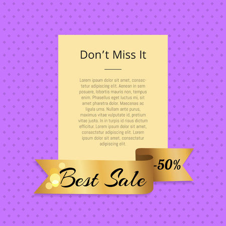 Don t Miss it Best Sale 50 Off Poster with Ribbon 向量圖像
