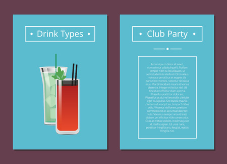 Club Party Drinks Type Promo Poster with Cocktails