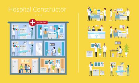 Hospital Constructor Scheme Vector Illustration