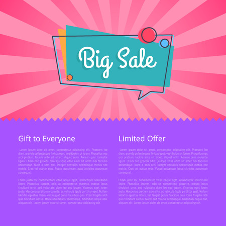 Big sale gift for everyone limited proposal vector illustration isolated on pink and purple background. Best offer discounts with place for text  イラスト・ベクター素材