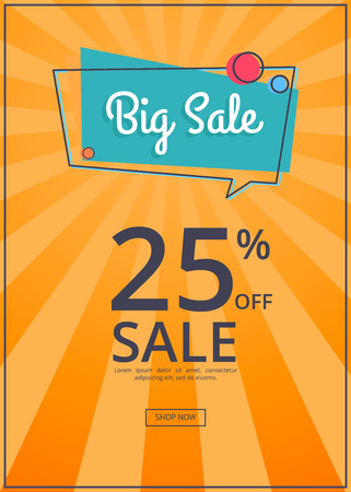 Big sale poster with 25 percent discount off, inscription in square speech bubble on orange background with rays. Best offer propose web banner