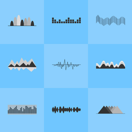 Music Equalizer Interface Set of Nine Icons
