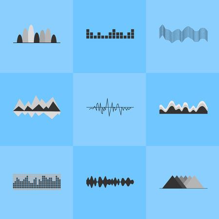 Music Equalizer Interface Set of Nine Icons