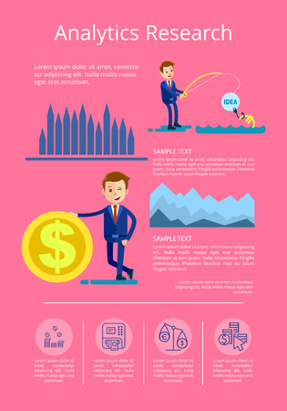 Analytics research with man attracting investments and business person with cash icon. Background of vector illustration with data interpretation is pink
