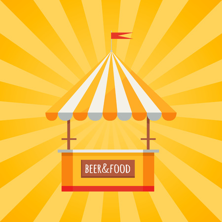 Beer and food festival tent, selling drinks and snacks vector in concept of Oktoberfest or Octoberfest festival on background with rays Illustration