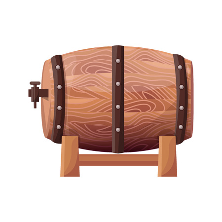 Wooden Brown Barrel on Vector Illustration White Illustration