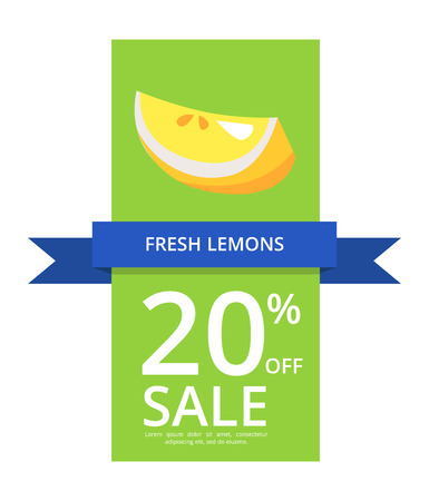 Fresh lemons 20 off sale depicting citrus with seeds on green background with filling space for text vector illustration isolated on white