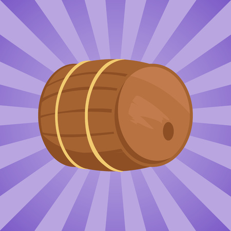Wooden barrel with alcohol drink vector illustration. Cylindrical container, made of wooden staves bound by metal hoops on purpe background with rays Illustration