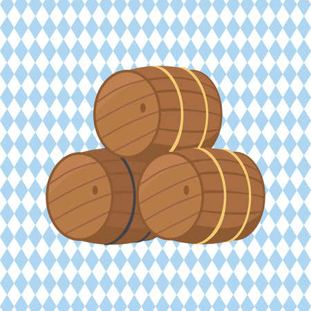 Wooden barrels with beer vector illustration isolated on checkered background. Three casks or tuns hollow cylindrical container, made of wooden staves Foto de archivo - 90517769