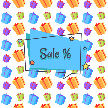 Sale Banner with Boxes Packages Seamless Vector