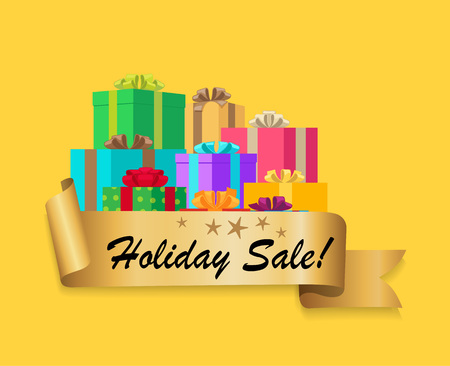 Five Star Holiday Sale Gold Ribbon Gift Boxes Illustration