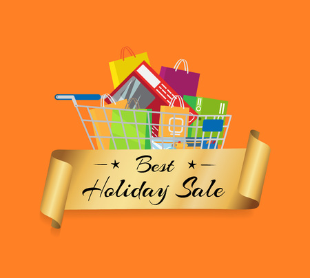 Best Holiday Sale Banner Cart Full of Shopping Bag