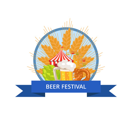 Beer Festival Logo Vector in Circle with Ribbon