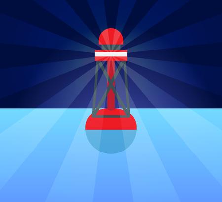 푸른 물에 라이터와 함께 빨간색 플라스틱 부표 일러스트