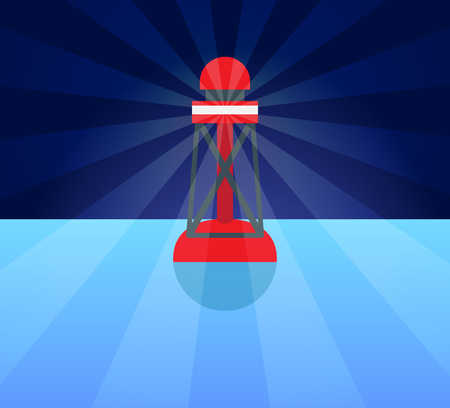 Red Plastic Buoy with lighter in Blue Water