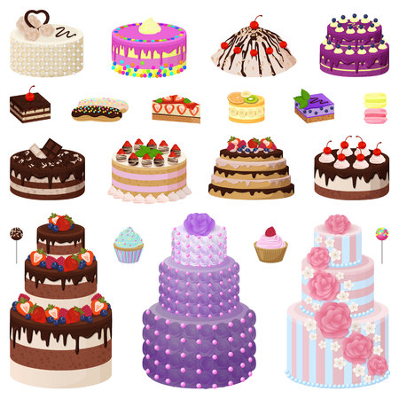 Collection of Tasty Cakes on Vector Illustration Illustration