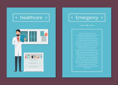Cuidado de la salud y emergencia conjunto ilustración vectorial