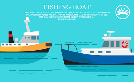 Fishing Boat Sea Transportation Vessel with Cargo Illusztráció
