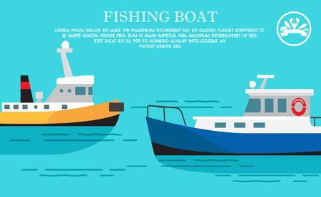 Fishing Boat Sea Transportation Vessel with Cargo Illustration