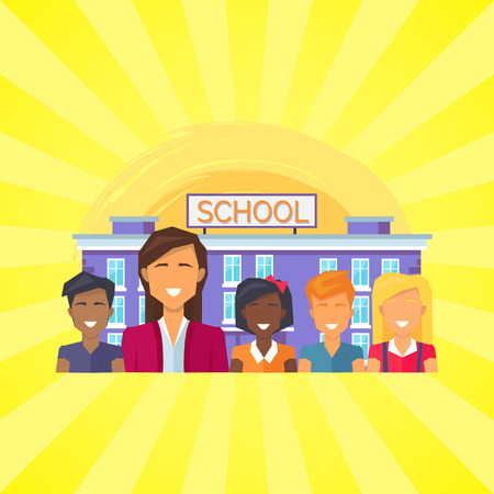 School Building with Pupils Vector Illustration