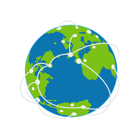 Earth Icon with Airways Plan Vector Illustration