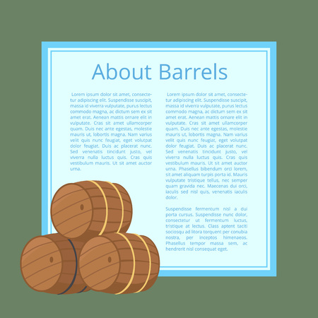 About Wooden Barrels Poster Text Isolated Vector