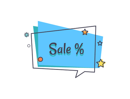 Sale Banner in Square Speech Bubble Star Vector Illustration