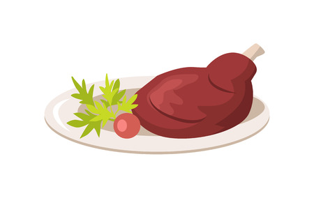 Plate with Meat and Vegetables Vector Illustration