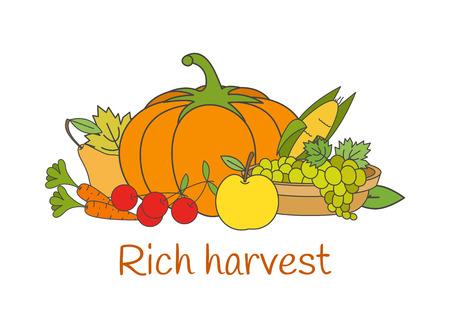 豊かな収穫野菜とフラット ベクトル概念