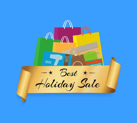 Best Holiday Sale Shopping Bags Color Set Isolated Illustration