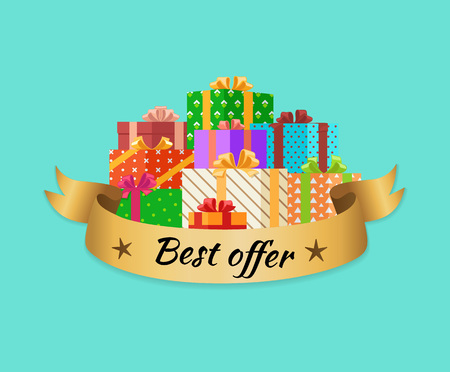Best Offer Promo Poster with Gold Ribbon Gift Box