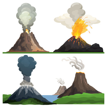 Volcano Eruption on Vector Illustration White