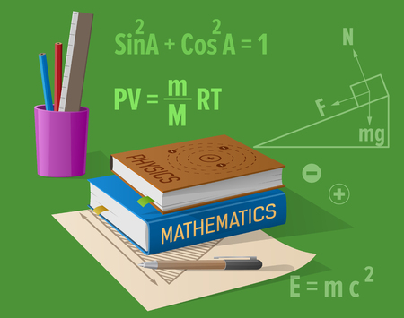 Physics Mathematics Classes Cartoon Illustration Illustration