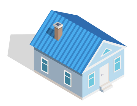 Three Dimensional Icon of Small Isometric House Illustration
