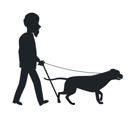 犬のガイド シルエット老人ペット ベクトルを保持  イラスト・ベクター素材