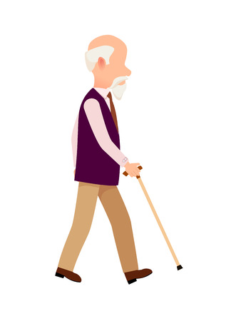 Person with Cane Thin Stick Curved Handle Isolated Illustration