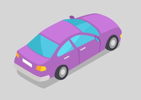 Purple Car Window Vector Illustration Isolated