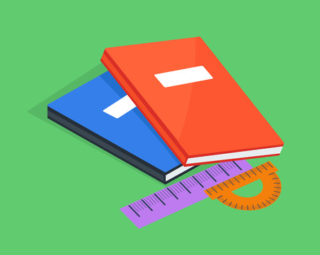 Two Copybooks Red and Blue, Ruler and Protractor
