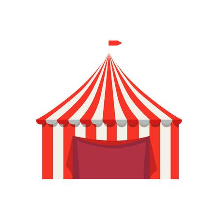 Tente à rayures pour la vente de produits alimentaires avec drapeau Banque d'images - 90605232