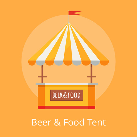 Beer and Food Festival Tent Vector Illustration