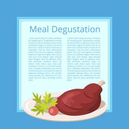Meat Degustation Vector Illustration on Blue.