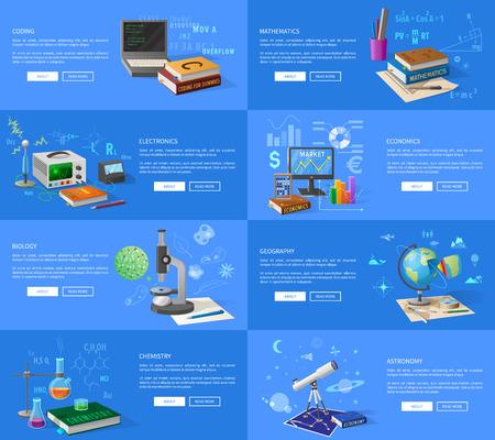 Educatieve onderwerpen Informatieve internetpagina's Stock Illustratie