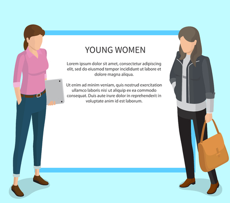 Young Women Poster with White Frame and Students Stock Photo - 90603038