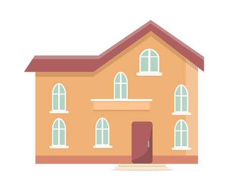 Three Storey Building with Oval Windows and Door Banco de Imagens - 90605180