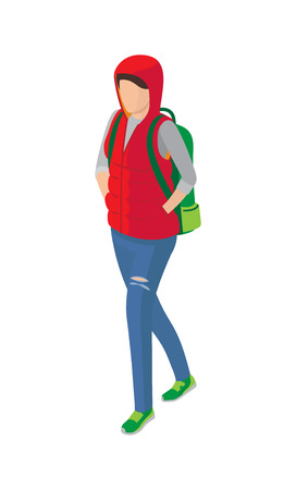 Woman in Sleeveless Jacket Green Shoes and Backpack