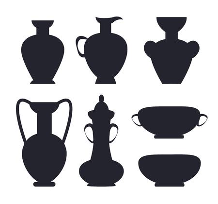 Ancient Vases Black Silhouettes Isolated Vector Illusztráció