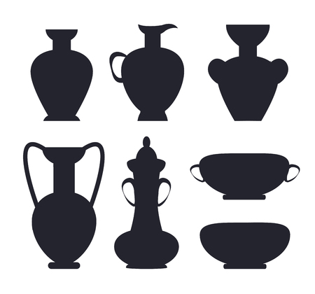Ancient Vases Black Silhouettes Isolated Vector Illustration