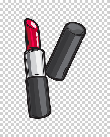 Classic Red Glossy Lipstick Isolated Illustration Çizim