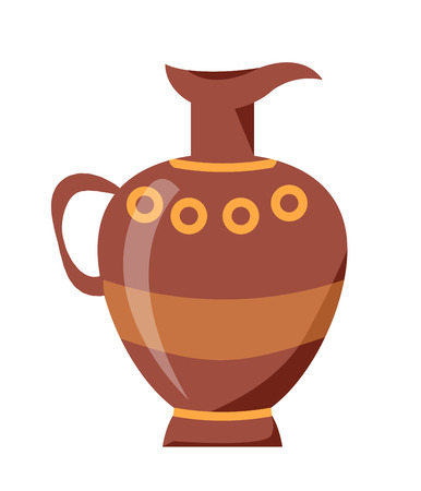 Closeup of Clay Jug Isolated Vector on White
